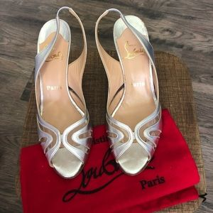 Christian Louboutin silver sling back heels